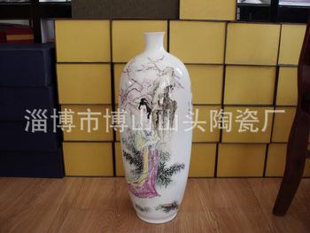 廠家專業供應 精致陶瓷骨質瓷手繪花瓶 仕女人物長壽瓶