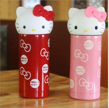 HelloKitty不锈钢保温杯 kt猫可爱卡通水杯创意 猫头女士保温杯