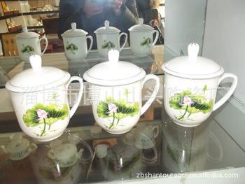 廠家專業供應 陶瓷茶杯 印有荷花 骨質瓷蓋杯