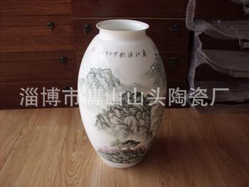 廠家專業供應 精致陶瓷骨質瓷手繪花瓶 山水腰鼓瓶