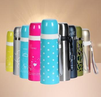 新款儿童吊带不锈钢真空保温杯 500ML创意头商务礼品杯子定制