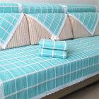 藍色格子棉線沙發墊布藝防滑厚棉麻亞麻老粗布田園沙發套一件代發